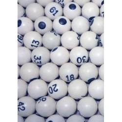 Sachet de 90 boules de loto numérotées blanches
