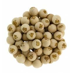 Sachet de 90 boules de loto bois numérotées 22mm