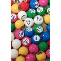 Sachet de 90 boules de loto multicolores numérotées