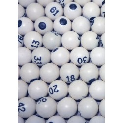 SACHET 90 BOULES NUMEROTEES BLANCHES